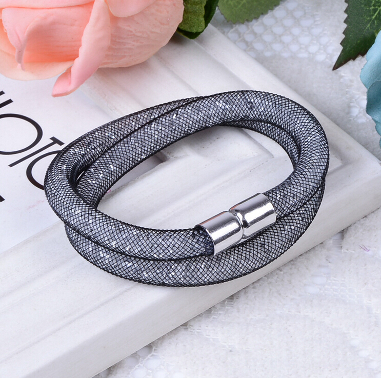 2015 Hot sale Mesh Double Stardust Bracelets With Crystal stones Filled Magnetic Clasp Charm Bracelet XY-B219(China (Mainland))