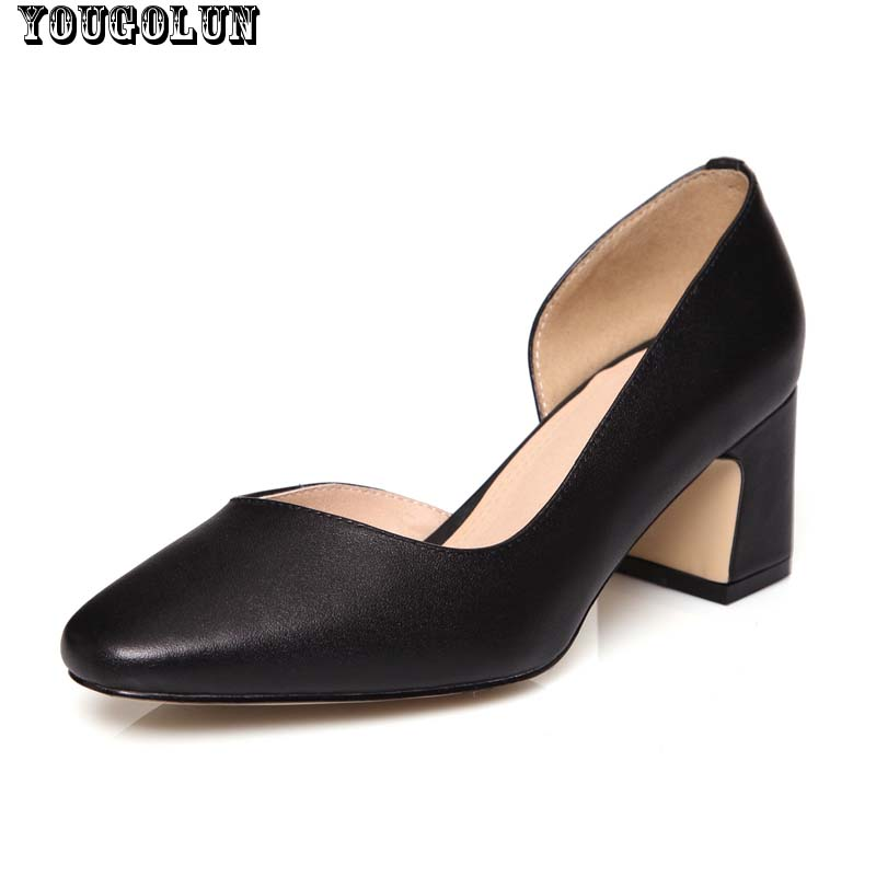 D'Orsay & Two-Piece High Heels(7.5cm)Women Genuine Leather Square Heel Pumps Lady Sqaure Toe Black Beige Woman Office Mid Heel(China (Mainland))