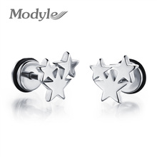 New Fashion Accessories Three Stars Silver / Black / Gold Stainless Steel Stud Earring Vintage Charm Jewelry For Men Women(China (Mainland))