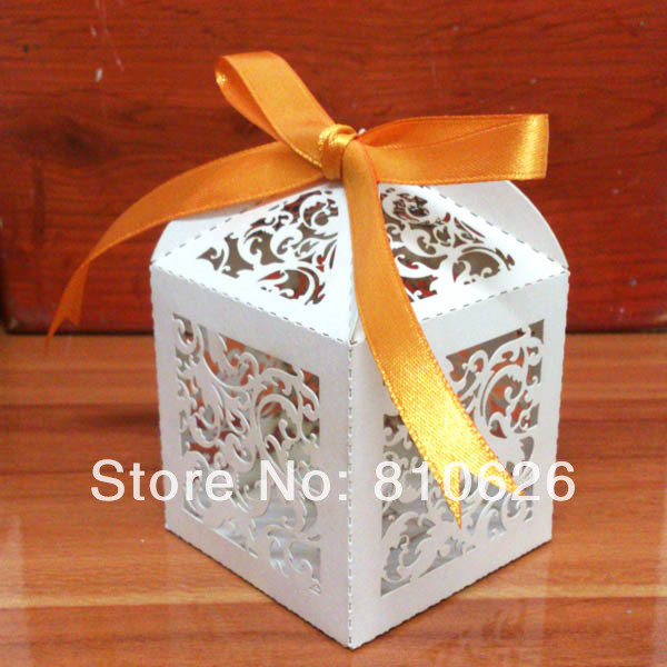 Free shipping 20 pcs White Ivy Little Vine Laser cut Wedding Candy Box Paper Favor Box Party favor gift Favour box white ribbon(China (Mainland))