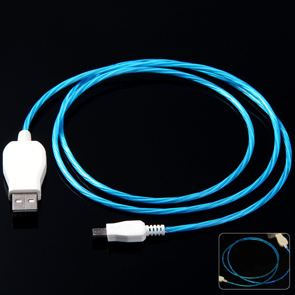 1M 2 in 1 LED Flashes Visible Flowing Current Charge Sync Luminous USB Data Cable For Micro 5Pin USB Devices For HTC Samsung(China (Mainland))