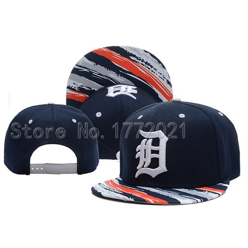 Men's Adjustable Detroit Tigers Snapback Hats Dark Blue Top With Twill Print Visor Retro D Embroidery Logo Baseball Caps(China (Mainland))