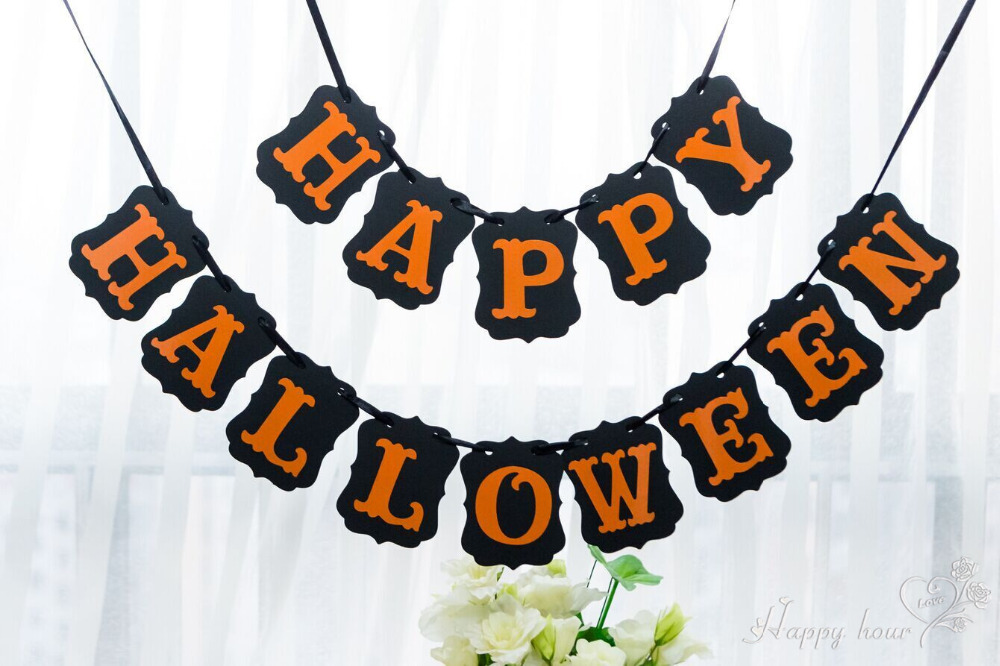 "1set Viintage Banner ""HAPPY HALLOWEEN"" Decoration For Party Door Fireplace Garlands Flags Photo Booth Party Decoration(China (Mainland))"