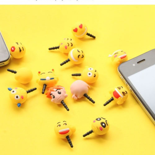 $10 free shipping kawaii cartoon animal expression Anti dust plug for cell phone iphone xiaomi kpop cute anime headphones cap(China (Mainland))