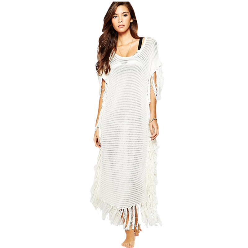 newest 2016 women beachwear swimsuit cover up long dress crochet white tassel trim knitted beach. Black Bedroom Furniture Sets. Home Design Ideas