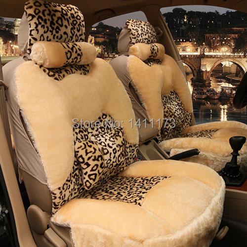 Universal Size Suitable 5 Seats Leopard Print Car Winter