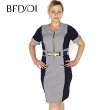 BFDADI 2016 новые платья мода свободного покроя Большой размер весной и осенняя стиль одежды с о-образным вырезом коротким рукавом рабочее плать...(China (Mainland))
