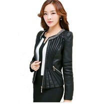 Leather Jacket women Spring and Autumn 2016 New Leather Coat Women Short Slim Motorcycle Leather Clothing Female Outerwear Black(China (Mainland))