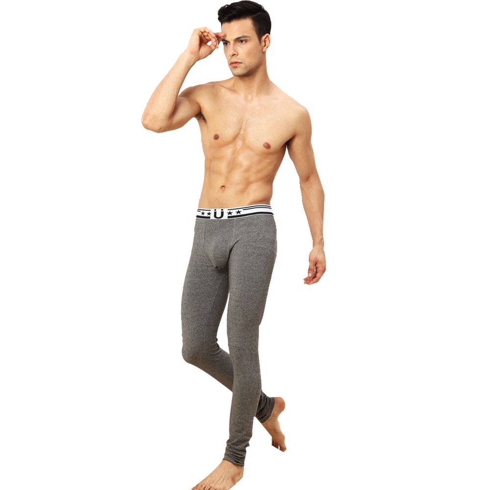 High Quality Brand Cueca Thermal Underwear Thin Grey Lycra Cotton Men's Keep Warm Single Long Johns With U convex Pouch Fashion(China (Mainland))