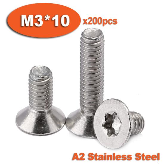 200pcs DIN965 M3 x 10 A2 Stainless Steel Torx Countersunk Flat Head Screw Screws<br><br>Aliexpress