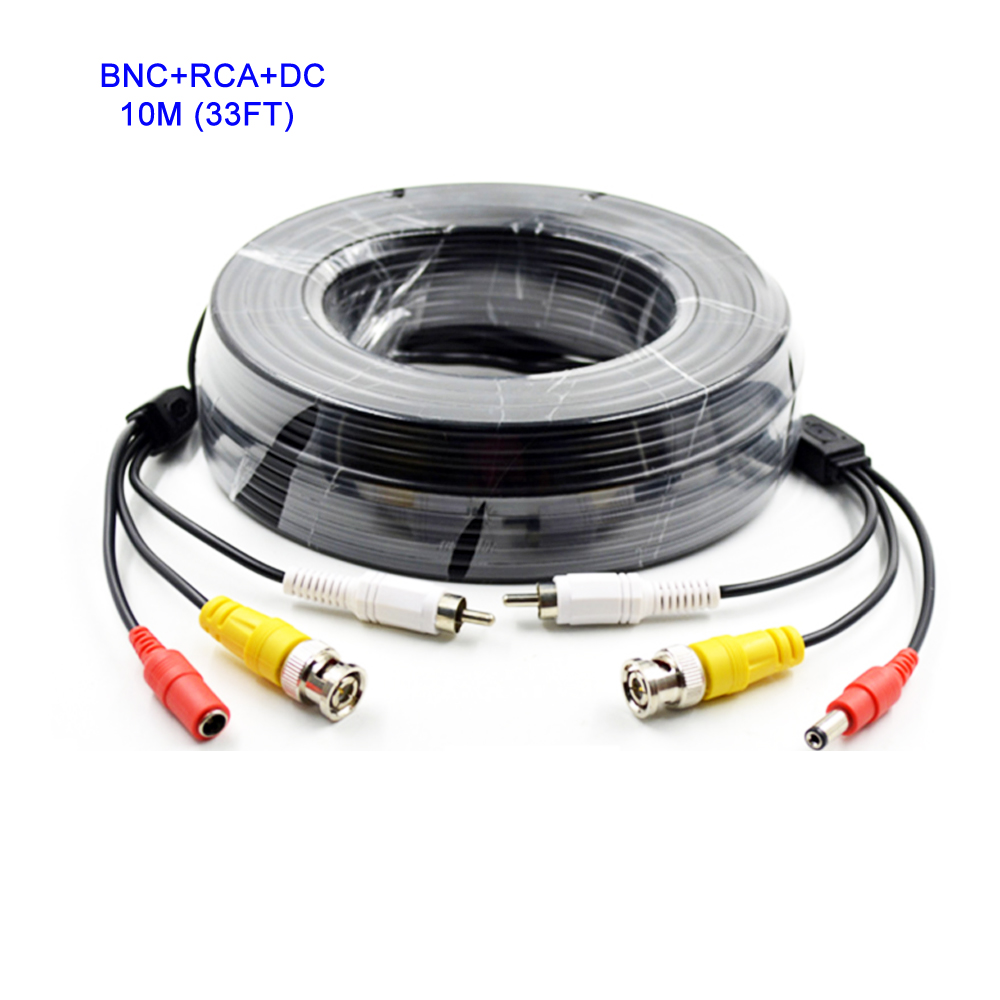 10M 33FT BNC Video Cable + RCA Audio Cable + DC Power Cable 3in1 Plug and Play for Security CCTV Analog AHD Camera DVR System(China (Mainland))