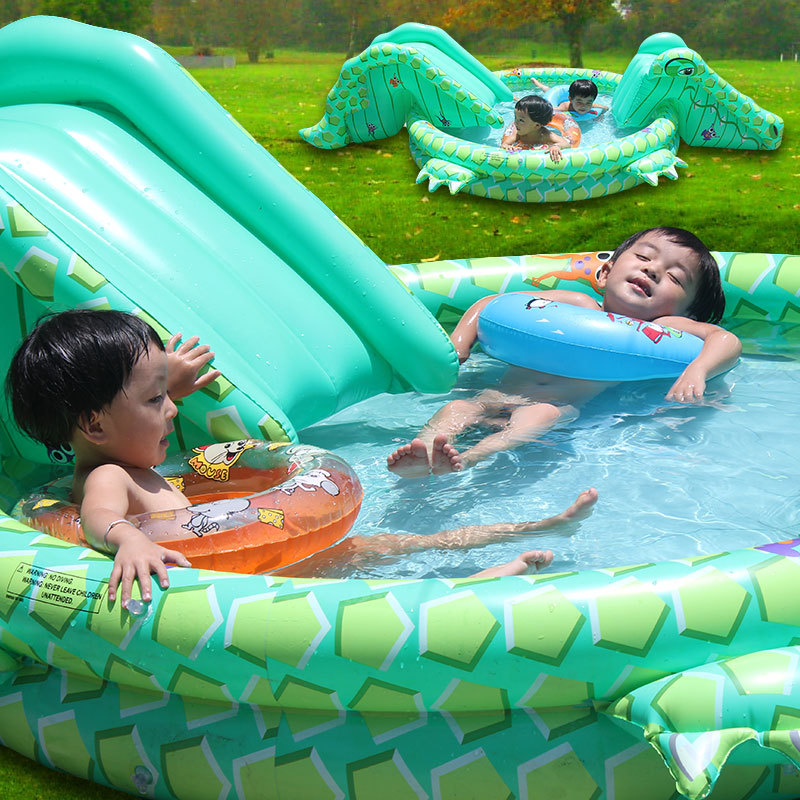 New Multifunctional Children Inflatable Swimming Pool Big Kids Inflatable Crocodile With Dual Slides Baby Have Fun Swim Pool(China (Mainland))