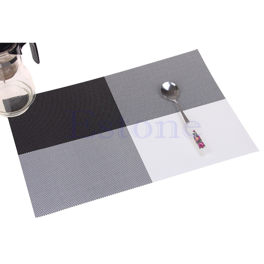 Free ShippingHome Decor Kitchen Dining Placemat font b Chequer b font Adiabatic PVC Strip Weave Table