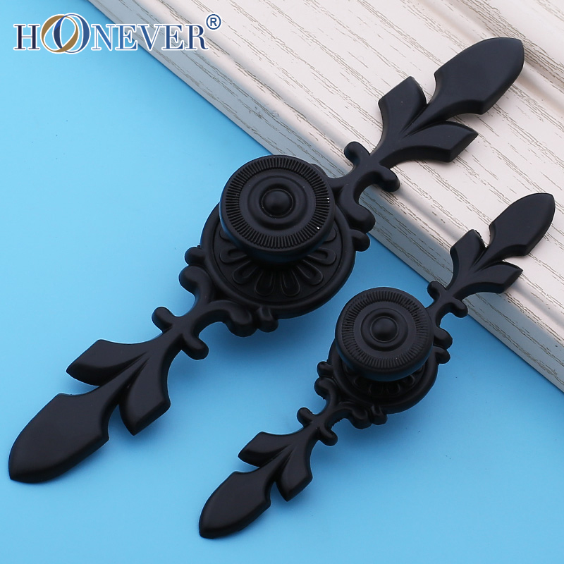 5pcs Black Door Handle Antique Furniture Knobs and Handles for Kitchen Cabinets Cupboard Closet Handle Drawer Pull(China (Mainland))