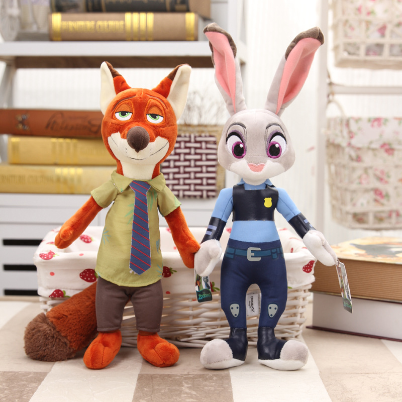 Movie Zootopia Plush Toys Rabbit Judy Hopps Nick Wilde Zootopia Cotton Stuffed Plush Doll Children Baby Kids Toys WJ347(China (Mainland))