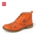 WeiDeng 2017 Genuine Leather Brogue Ankle Motorcycle Boots Lace up Women Summer Fashion Retro Flat Classic