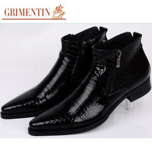 GRIMENTIN fashion Italy mens ankle boots patent leather black blue luxury serpentine men dress shoes for party business b229