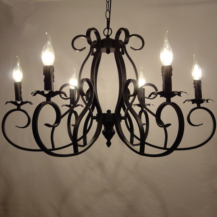 classic european fixture wrought iron chandeliers 6 heads pandant lamp. Black Bedroom Furniture Sets. Home Design Ideas