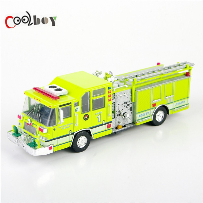 Collectible 1:64 Diecast Fire Truck 1997 Pierce Quantum Pumper USA Model Cars Trucks Yellow Color Gift for Kids Free Shipping(China (Mainland))