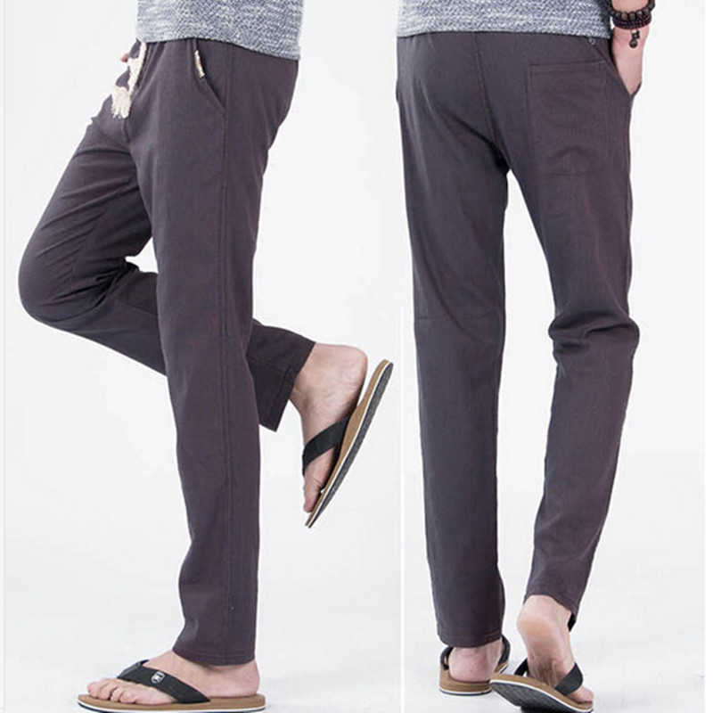 New 2015 spring and summer Men Linen Long Trousers Men's Pure Color Fashion Leisure Trousers and Male Casual Loose Pants(China (Mainland))