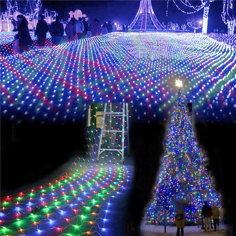Ac220v 4mx6m 750 led net string lights outdoor christmas for 160 net christmas decoration lights clear