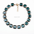 Fashion Luxury Navy Crystal Beads Chunky Necklace Vintage Party Square Rhinestone Collar Necklace Accessories Jewelry N0607