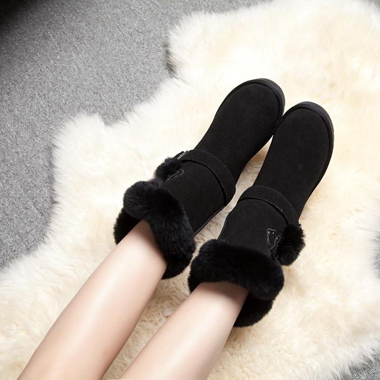 ซื้อ แฟชั่นที่มีคุณภาพสูง100%หนังแท้shearlingผู้หญิงรองเท้าหิมะหนังแกะที่อบอุ่นให้รองเท้าป้องกันการลื่นไถลรองเท้าฤดูหนาวGN17