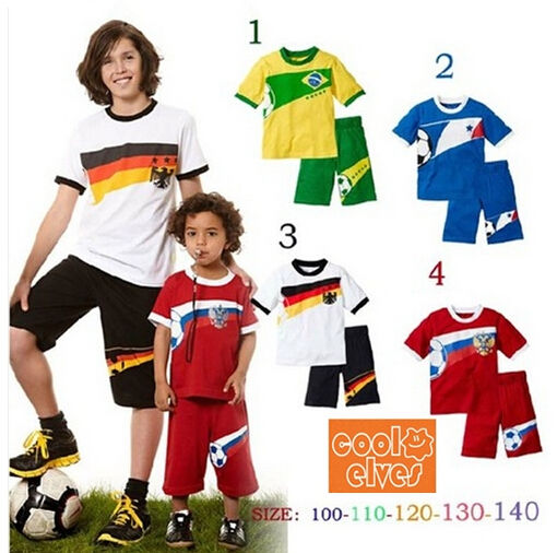 Summer Soccer Team Model Boy Costume Sets Baby/Kid/Child Football/Star/Club Pattern Jersey+Sports Short Pants Outfits 3-7Years(China (Mainland))
