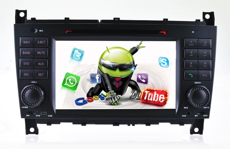 Android 5.1Car DVD navigation for Benz c w203 bnez clk w209 Quad Core Cortex A9 3G/car audio gps with Reversing Track function(China (Mainland))