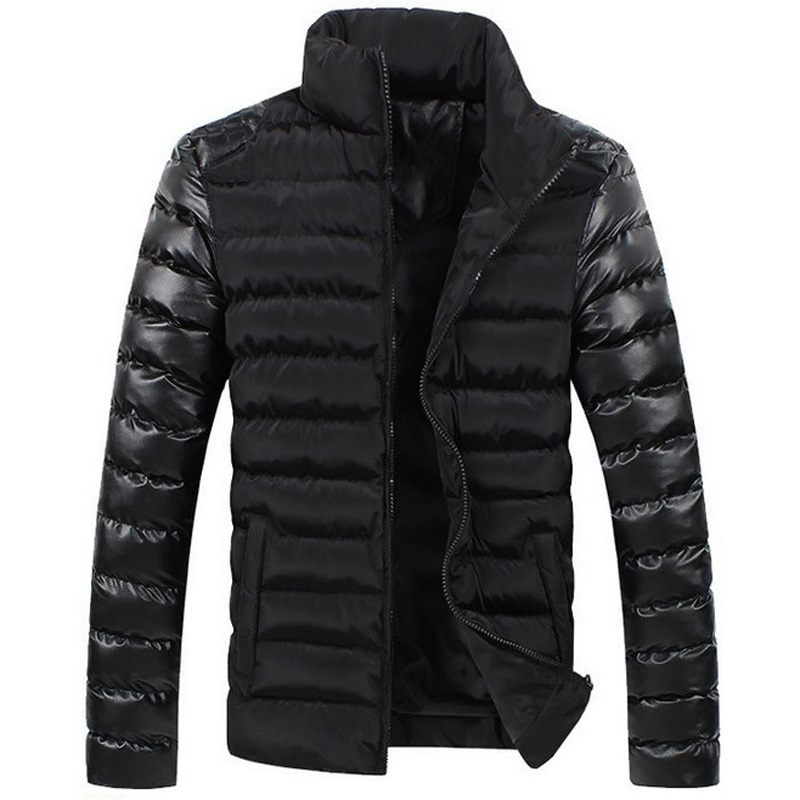 High qulity! 2014 new winter fashion unique leather sleeve splicing men winter coat all-match men winter jacket free shippingОдежда и ак�е��уары<br><br><br>Aliexpress