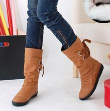 Femmes hiver bottes de neige mi - mollet solide appartements hiver PU bottes femmes chaudes bottes en peluche dames bottes , Plus la taille 34 - 43 AA238(China (Mainland))
