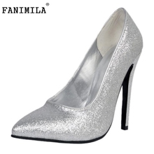 Buy High Heels Women Pointed Toe Pumps Fashion Glitter Thin Heel Shoes Woman Sexy Wedding Party Heeled Footwear Shoes Size 34-47 for $42.88 in AliExpress store