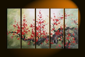 hand-painted oil wall art Bright red flower decoration Abstract Landscape Framed oil painting on canvas 5pcs/set