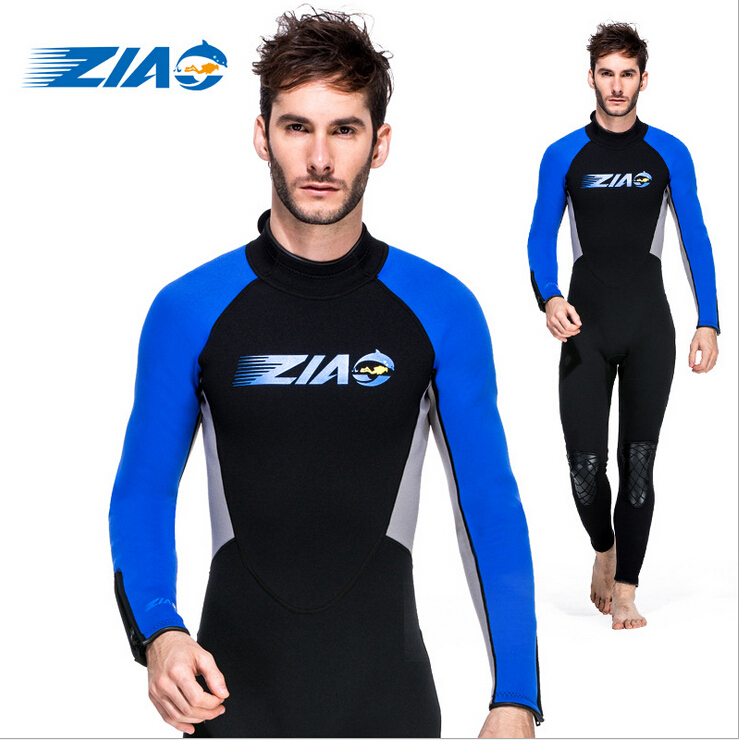 2015 ZIAO Men 3MM Zipper One-Piece Blue Red Long Sleeve Diving Spearfishing Suit Neoprene SRB Nylon Surf Sailboat Scuba Wetsuit(China (Mainland))