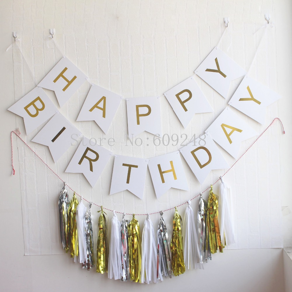 DIY Paper Happy Birthday Flags Banner Letter Garlands Birthday Party Decoration