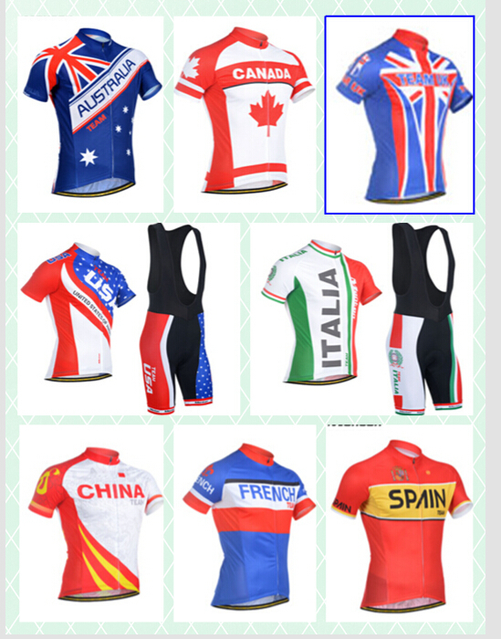 MONTON Summer Men Cycling Jerseys Short Sleeve Bike Clothing Kits Flag Edition For Spain Australia UK USA French Canada Italia(China (Mainland))