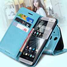 2014 Newest!! Top Quality Crazy Horse Leather Wallet  Case For HTC M8 Mobile Phone Bag Cover With Stand  Retail SGS03978