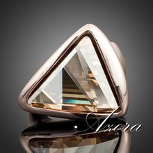 18K Real Rose Gold Plated Gold Color Triangle SWA ELEMENTS Austrian Crystal Ring FREE SHIPPING!(Azora TR0015)