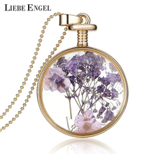 Buy LIEBE ENGEL Romantic Collares Purple Dried Flower Glass Pendant Necklace Long Gold Color Chain Necklace Jewelry Women 2017 for $2.16 in AliExpress store
