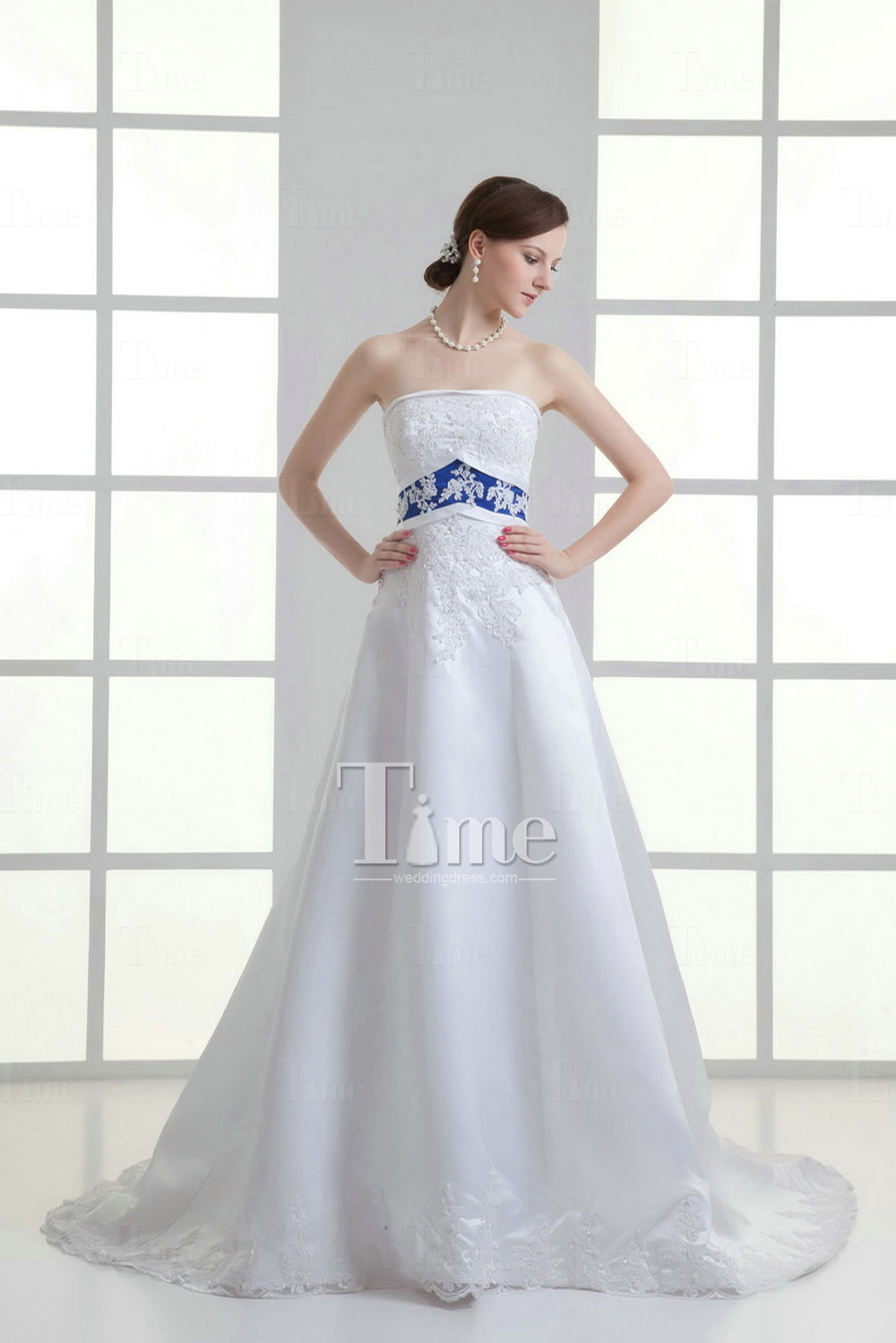 A line strapless court train sequins satin two tone navy for Pink and orange wedding dresses