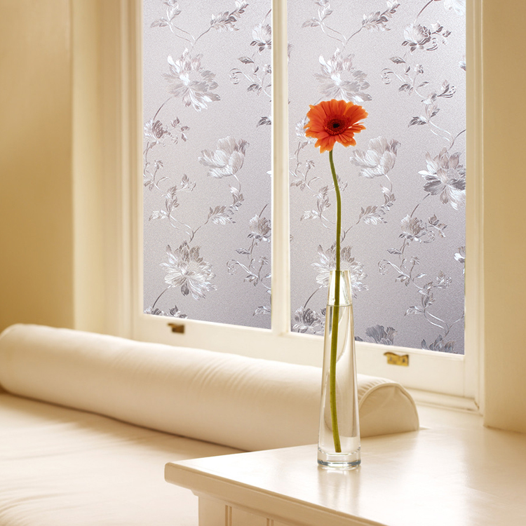 50x100cm printing Flower frosted frosted plastic foil static-free bathroom balcony windows opaque glass paste stickers sunscreen(China (Mainland))