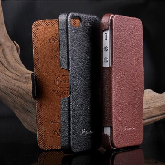 Luxury Genuine Leather Cell Phones Case For Apple iPhone 5 5S Filp Litchi pattern leather cover For i Phone 5 5S Phone Cases Bag(China (Mainland))