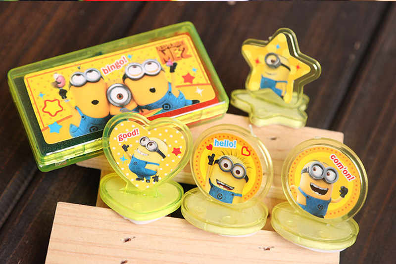 Free Shipping 4pcs/set Despicable Me minion Toys Olaf Kristtof Seal Stamper Action Figure Toys hobbies For Boys Girls(China (Mainland))