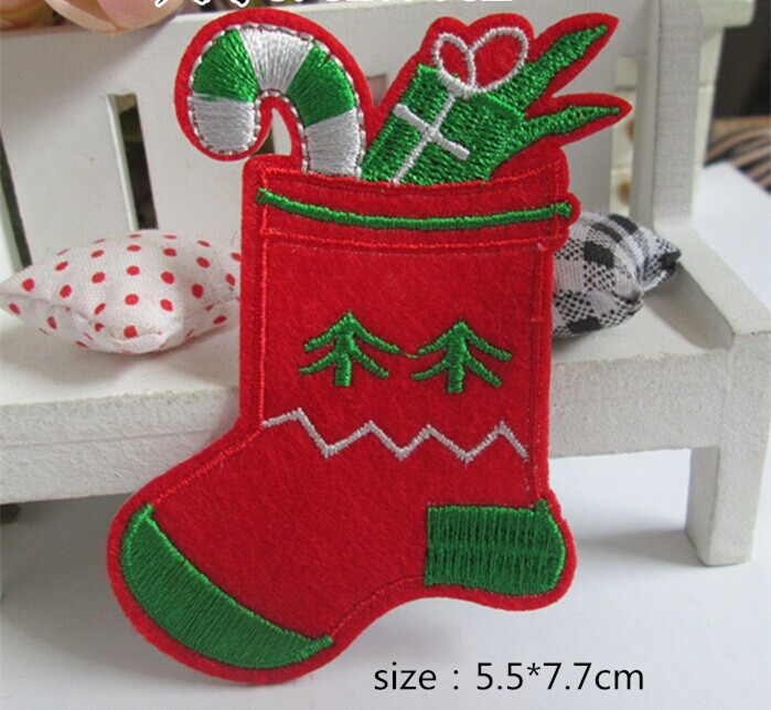 New arrival 10 pcs 5.5*7.7cm Christmas socks Embroidered patches iron on festival Applique embroidery accessory Free shipping(China (Mainland))
