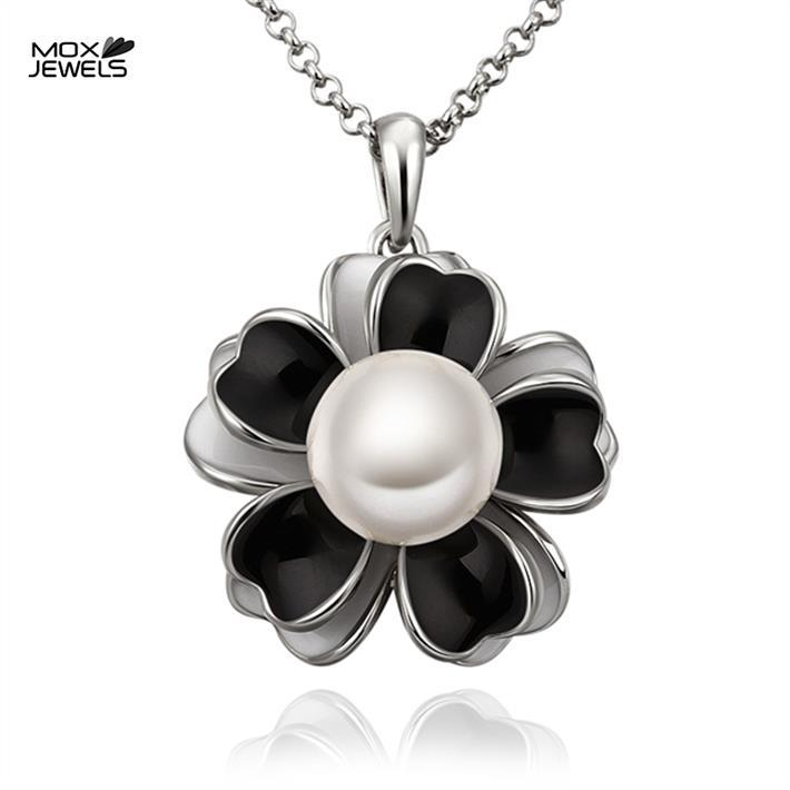 VGN837 fashion brand jewelry bijuterias collares black flower imitation pearl pendant 18k white Gold Plated women necklace(China (Mainland))