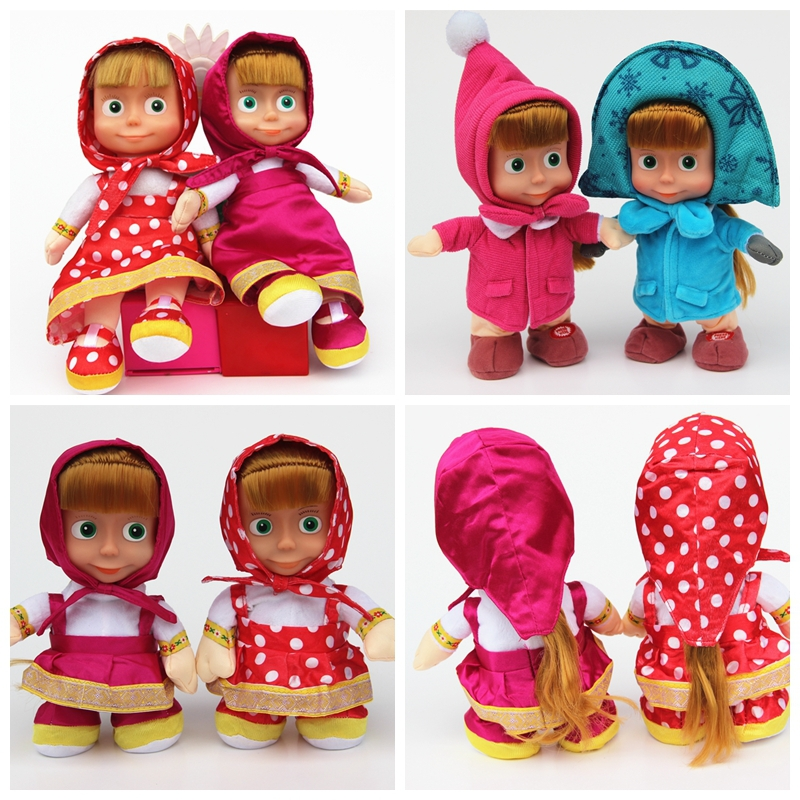 cartoon Princess doll MashaBear plush baby toy masha and bear toys kawaii elsa and anna princess brinquedos kids dolls hot sale(China (Mainland))