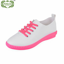 Flats Women 2016 New Fashion Breathable Comfortable Genuine Leather Women Casual Shoes Lace-Up Women Trainers Promotion