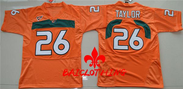 2017 BAICLOTHING BAICLOTHING Miami Hurricanes Sean Taylor 26 College Basketball Jerseys - Orange Size S,M,L,XL(China (Mainland))