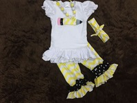 Kids clothing pencil print capri sets spring ruffle shorts outifts back to school clothing with matching necklace and headband