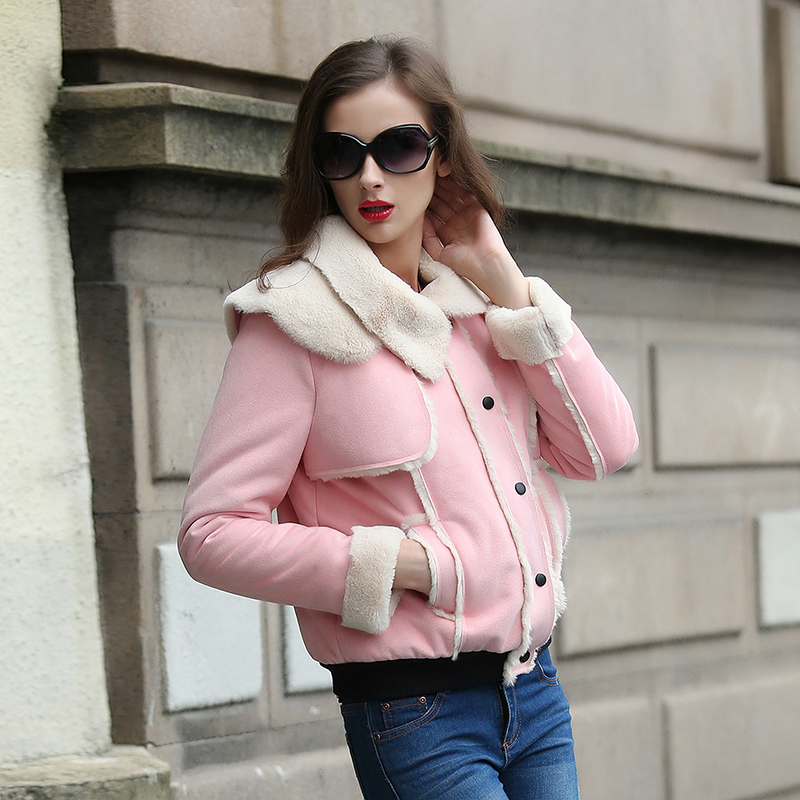 Veri Gude Women Faux Fur Coat for Winter Synthetic Faux Suede Bomber Jacket High Quality